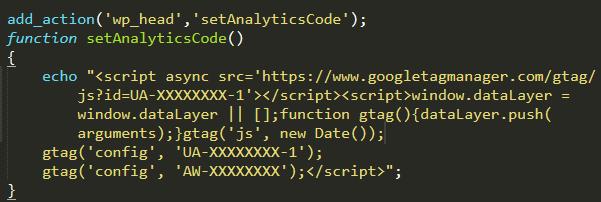 Agregar código analytics a WooCommerce
